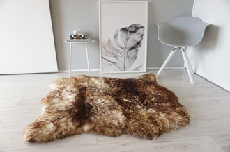 Genuine Natural Double Side by Side Sheepskin Rug | Soft Wool | Cream White | Brown tipped Mix - SBN 31
