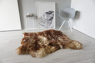Genuine Natural Double Side by Side Sheepskin Rug | Soft Wool | Cream White | Brown tipped Mix - SBN 33