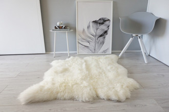 Genuine Natural Double Side by Side Sheepskin Rug | Soft Wool | Cream White | Ivory Mix - SBN 36