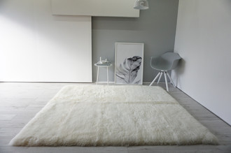 Luxury Genuine Square | Area | Rectangular Sheepskin Rug - Creamy White Mix - Super Soft Wool