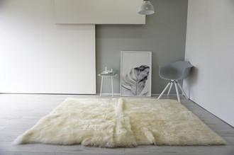 Luxury Genuine Square | Rectangular Sheepskin Rug - Creamy White | Ivory | Champagne Mix - RCTN 4