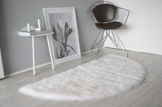Genuine Natural Half Moon - Round Shape Sheepskin Rug - Short Super Soft Creamy White Wool