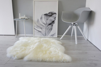 Genuine Australian Double (2) Side by Side Sheepskin Rug - Super Soft Silky White Wool