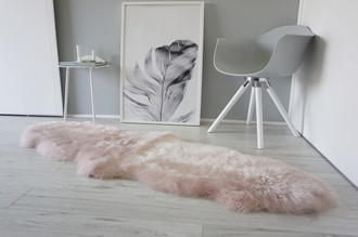 Genuine Australian Double (2) Sheepskin Rug - Super Soft Silky Blush Pink Wool