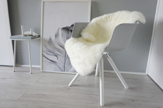 Genuine Australian Single Sheepskin Rug - Super Soft Silky Cream White Ivory Mix Wool