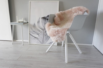 Genuine Australian Single Sheepskin Rug - Super Soft Silky Blush Pink Wool