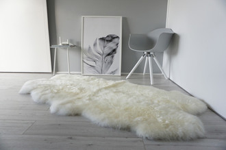 Genuine Australian Quad (4) Sheepskin Rug - Super Soft Silky White Wool