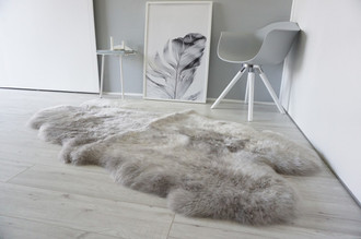 Genuine Australian Quad (4) Sheepskin Rug - Super Soft Silky Silver Wool