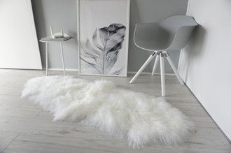 Genuine Tibetan - Mongolian Double Sheepskin Rug | Super Soft Silky Long Curly Snow White Wool