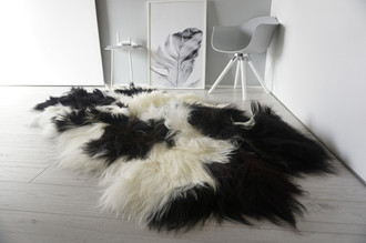 Luxury Genuine Quad (4) Icelandic Sheepskin Rug - Natural White Black Brown Mix - Super Soft Silky Long Wool - QI 14