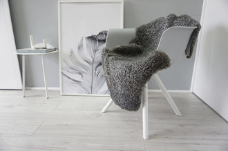 Genuine - Exclusive Swedish Gotland Sheepskin Rug - Soft Curly Wool - Natural Grey | Silver | Ash Mix - SG 168