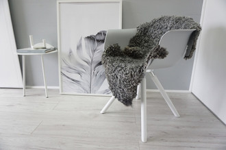 Genuine - Exclusive Swedish Gotland Sheepskin Rug - Soft Curly Wool - Natural Grey | Silver | Ash Mix - SG 172