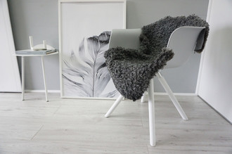 Genuine - Exclusive Swedish Gotland Sheepskin Rug - Soft Curly Wool - Natural Grey | Silver | Ash Mix - SG 173