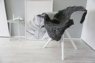 Genuine - Exclusive Swedish Gotland Sheepskin Rug - Soft Curly Wool - Natural Grey | Silver | Ash Mix - SG 177