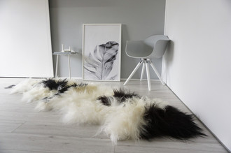 Genuine Rare Breed Icelandic - Double (2) Natural Sheepskin Rug Creamy White | Blacky Brown Mix - DI 40
