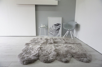 Genuine Australian Octo (8) Sheepskin Rug - Super Soft Silky Silver Wool