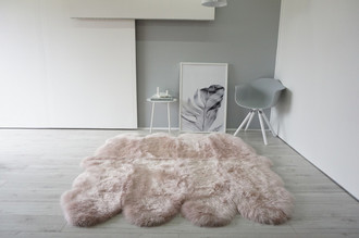 Genuine Australian Octo (8) Sheepskin Rug - Super Soft Silky Blush Pink Wool