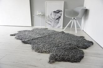 Genuine - Exclusive Swedish Gotland Quad (4) Sheepskin Rug - Soft Curly Wool - Natural Grey | Silver | Ash  Mix - QG 1