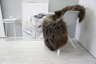 Genuine Natural Single Sheepskin Rug - Soft Thick Wool - Brown | Choco | Grey | Ash mix - SN 272