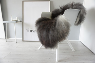 Genuine Icelandic Sheepskin Rug - Cream white | Blacky brown | Silver Mix - Super Soft Touch Long Wool - SI 363