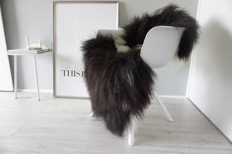Genuine Icelandic Sheepskin Rug - Cream white | Blacky brown Mix - Super Soft Touch Long Wool - SI 364