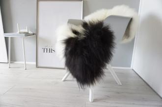 Genuine Icelandic Sheepskin Rug - Cream white   Blacky brown Mix - Super Soft Touch Long Wool - SI 381