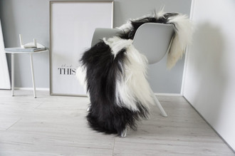 Genuine Icelandic Sheepskin Rug - Cream white | Blacky brown Mix - Super Soft Touch Long Wool - SI 382
