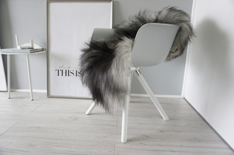 Genuine Icelandic Sheepskin Rug - Silver | Blacky brown Mix - Super Soft Touch Long Wool - SI 383