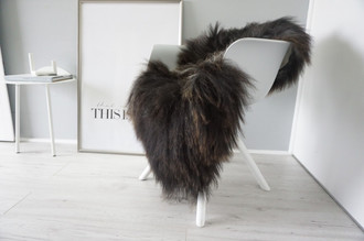 Genuine Icelandic Sheepskin Rug - Blacky brown | Silver | Grey Mix - Super Soft Touch Long Wool - SI 387