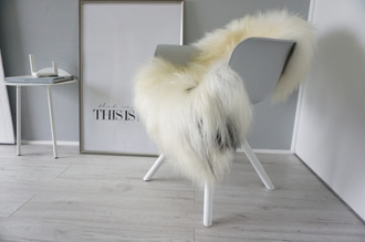 Genuine Icelandic Sheepskin Rug - Blacky brown | Cream white Mix - Super Soft Touch Long Wool - SI 389