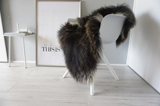 Genuine Icelandic Sheepskin Rug - Blacky brown | Cream white Mix - Super Soft Touch Long Wool - SI 390
