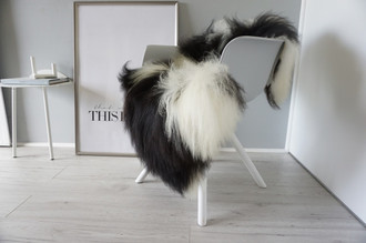 Genuine Icelandic Sheepskin Rug - Blacky brown | Cream white Mix - Super Soft Touch Long Wool - SI 391