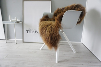 Genuine Icelandic Sheepskin Rug - Rusty brown | Cream white Mix - Super Soft Touch Long Wool - SI 394