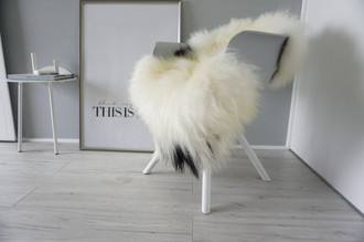 Genuine Icelandic Sheepskin Rug - Cream white | Blacky brown Mix - Super Soft Touch Long Wool - SI 397
