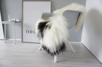 Genuine Icelandic Sheepskin Rug - Cream white | Blacky brown Mix - Super Soft Touch Long Wool - SI 398
