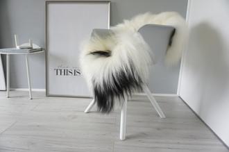Genuine Icelandic Sheepskin Rug - Cream white | Blacky brown Mix - Super Soft Touch Long Wool - SI 399