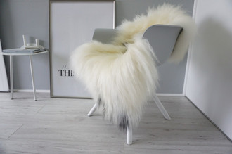 Genuine Icelandic Sheepskin Rug - Cream white | Blacky brown Mix - Super Soft Touch Long Wool - SI 410