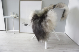 Genuine Icelandic Sheepskin Rug - Cream white | Blacky brown | Latte | Ash Mix - Super Soft Touch Long Wool - SI 411