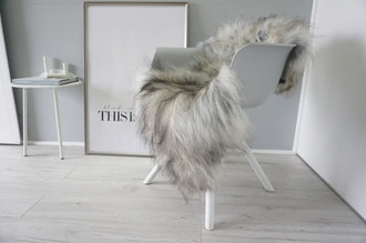 Genuine Icelandic Sheepskin Rug - Cream White | Black | Grey | Ash Mix - Super Soft Touch Long Wool - SI 416