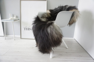 Genuine Icelandic Sheepskin Rug - Silver | Grey | Brown | Blacky brown Mix - Super Soft Touch Long Wool - SI 431