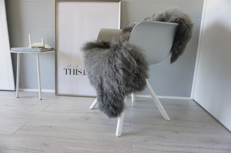 Genuine - Rare Breed Scandinavian Pelssau Sheepskin Rug - Extremely Soft Silky Wool - Silver | Grey | Ash | Brown Mix - SS 151