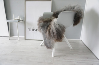 Genuine - Rare Breed Scandinavian Pelssau Sheepskin Rug - Extremely Soft Silky Wool - Silver | Grey | Ash | Brown Mix - SS 173