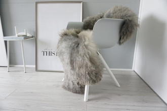 Genuine - Rare Breed Scandinavian Pelssau Sheepskin Rug - Extremely Soft Silky Wool - Silver | Grey | Ash | Brown Mix - SS 195
