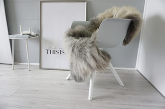 Genuine - Rare Breed Scandinavian Pelssau Sheepskin Rug - Extremely Soft Silky Wool - Silver | Grey | Ash | Brown Mix - SS 196