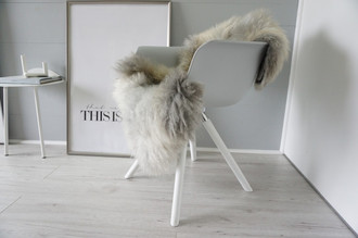 Genuine - Rare Breed Scandinavian Pelssau Sheepskin Rug - Extremely Soft Silky Wool - Silver   Grey   Ash   Brown Mix - SS 197