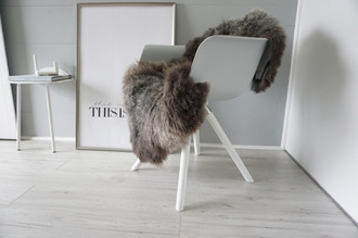 Genuine - Rare Breed Scandinavian Pelssau Sheepskin Rug - Extremely Soft Silky Wool - Silver | Grey | Ash | Brown Mix - SS 204