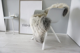 Genuine - Rare Breed Scandinavian Pelssau Sheepskin Rug - Extremely Soft Silky Wool - Silver | Grey | Ash | Brown Mix - SS 210