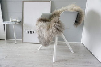 Genuine - Rare Breed Scandinavian Pelssau Sheepskin Rug - Extremely Soft Silky Wool - Silver | Grey | Ash | Brown Mix - SS 218