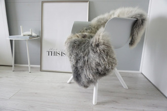 Genuine - Rare Breed Scandinavian Pelssau Sheepskin Rug - Extremely Soft Silky Wool - Silver | Grey | Ash | Brown Mix - SS 221