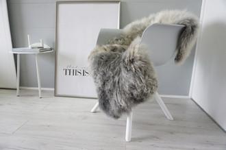 Genuine - Rare Breed Scandinavian Pelssau Sheepskin Rug - Extremely Soft Silky Wool - Silver | Grey | Ash | Brown Mix - SS 221